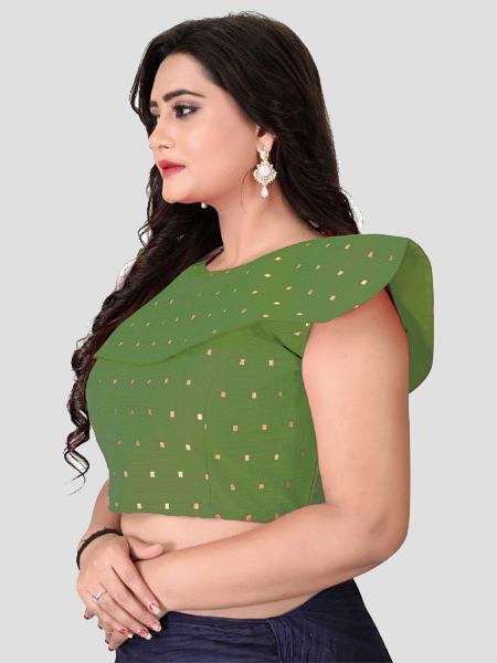 Left Side of Green High Neck Embroidered Blouse - YOYO Fashion