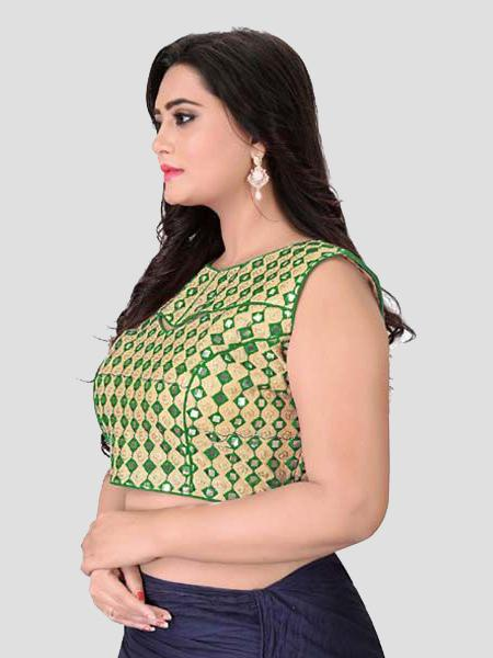 Left Side of Green Mirror Work Blouse - YOYO Fashion