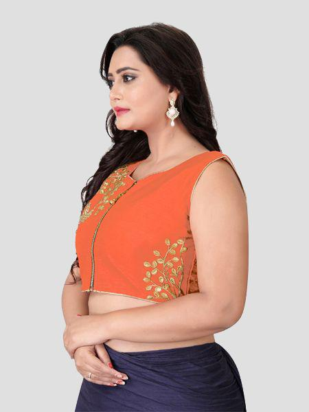 Left Side of Orange Silk Blouse - YOYO Fashion