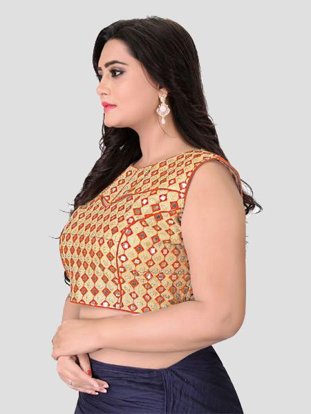 Left Side of Orange Mirror Work Blouse - YOYO Fashion