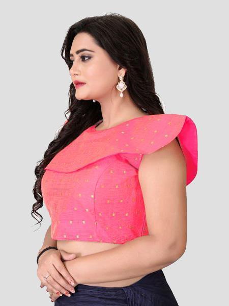 Left Side of Peach Silk Blouse - YOYO Fashion