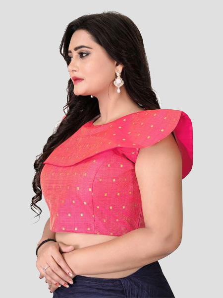 Left Side of Pink High Neck Embroidered Blouse - YOYO Fashion