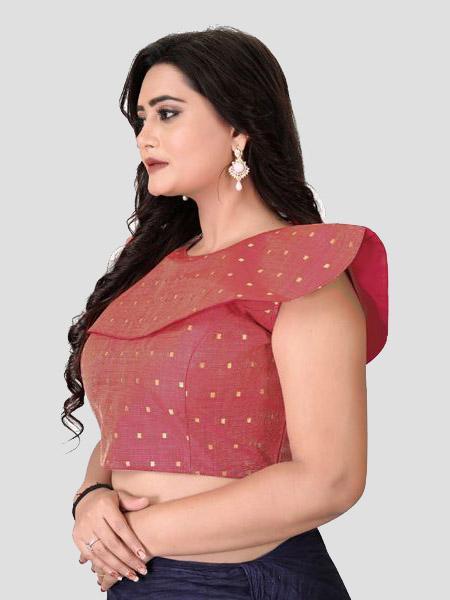 Left Side of Red Silk Blouse - YOYO Fashion