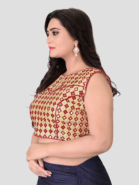Left Side of Red Mirror Work Blouse - YOYO Fashion