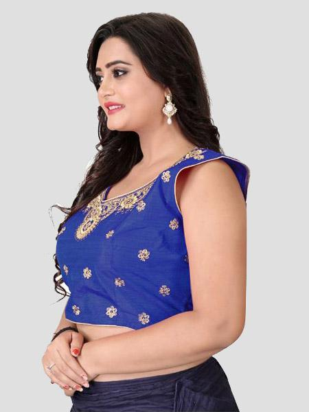 left Side of Royal Blue Embroidered Silk Blouse - YOYO Fashion