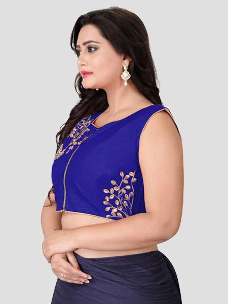 Left Side of Blue Silk Blouse - YOYO Fashion