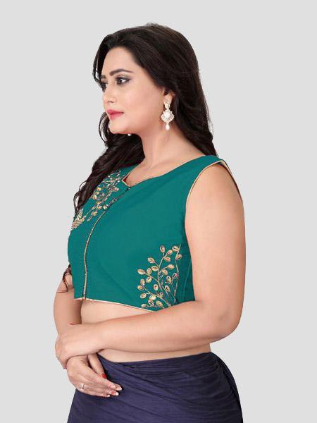 Left Side of Turquoise Silk Blouse - YOYO Fashion