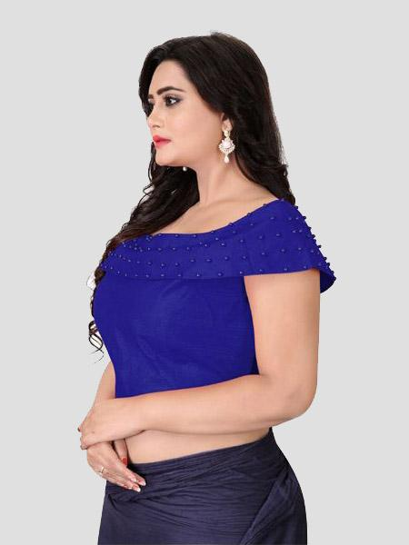 Left Side of Blue Boat Neck Solid Blouse Online - YOYO Fashion