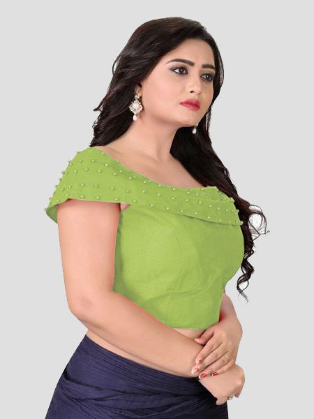Left Side of Green Boat Neck Solid Blouse Online - YOYO Fashion