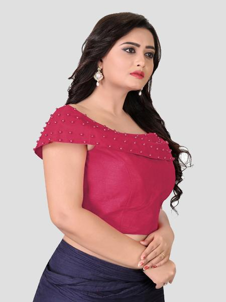 Buy Right Side of Peach Boat Neck Solid Blouse Online - YOYO Fashion
