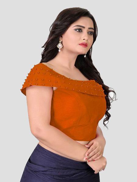 Left Side of Orange Boat Neck Solid Blouse Online - YOYO Fashion