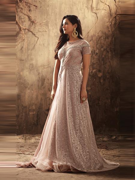 Latest Light Peach Anarkali Salwar Suit Online - YOYO Fashion