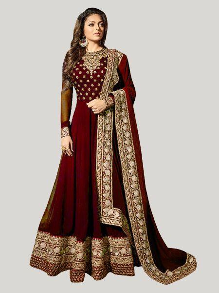 Buy Maroon Georgette Anarkali Suit Online - YOYO Fashion