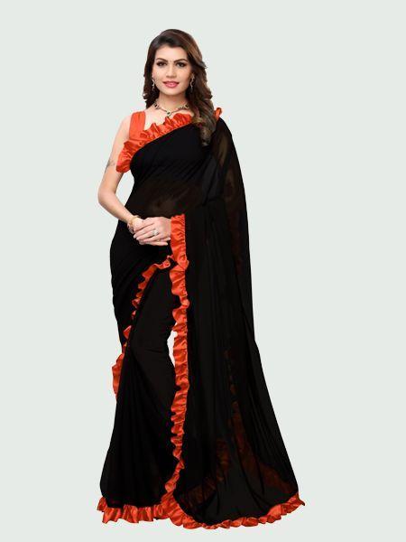 Orange and Black Ruffle Saree Online - YOYO Fashion