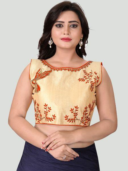 Buy Orange Boat Neck Women's Stitched Blouse Online - YOYO Fashion