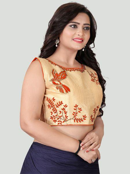 Left Side of Orange Boat Neck Stitched Blouse Design - YOYO Fashion