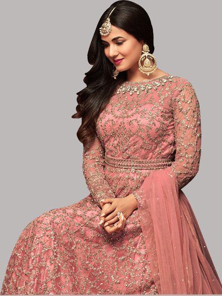 Pink Dupatta of Sonal Chauhan Latest Bollywood Anarkali Suits - YOYO Fashion