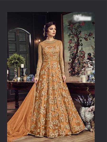 Buy Orange Designer Anarkali Salwar Suit Online - YOYO Fashion