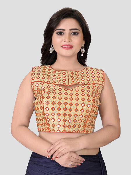 Buy Orange Mirror Work Blouse Online in India from YOYO Fashion