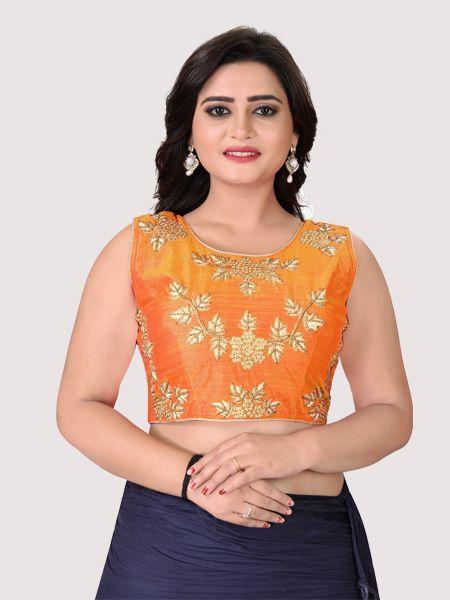 Buy Orange Round Neck Women's Stitched Blouse Online in India- YOYO Fashion