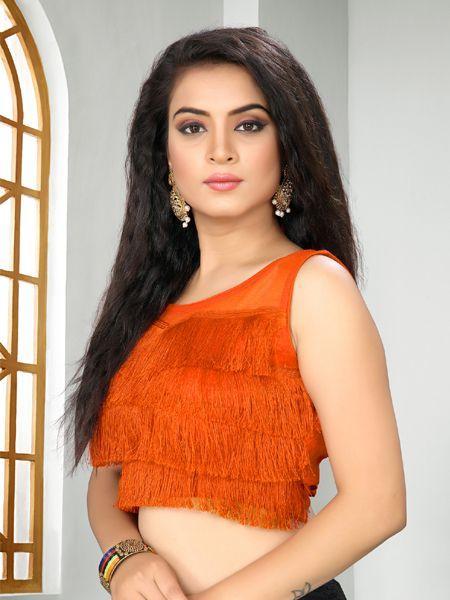 Buy Designer Orange Ruffle Saree Blouse Online - YOYO Fashion