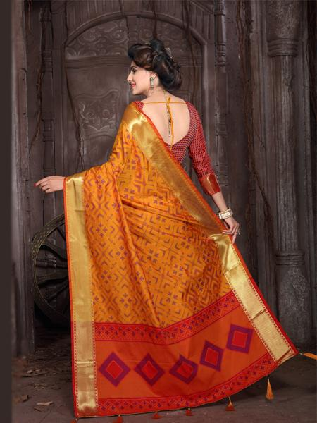 Back Pallu of Yellow Banarasi Silk Saree with Border - YOYO Fashion