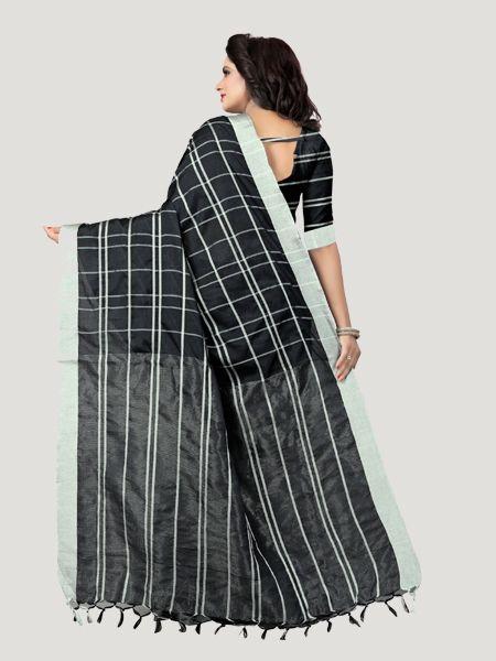 Buy Black Checked Linen Saree Online - YOYO Fashion
