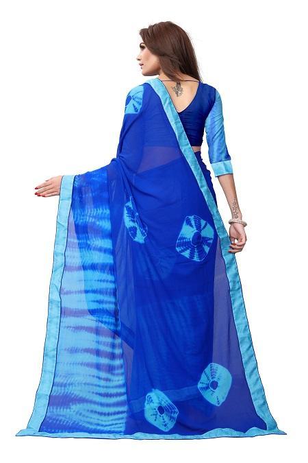 Pallu of Blue Georgette Bandhani Saree - YOYO Fashion