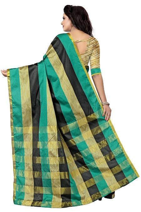 Pallu of Green, Black & Golden Striped Silk Saree - YOYO Fashion