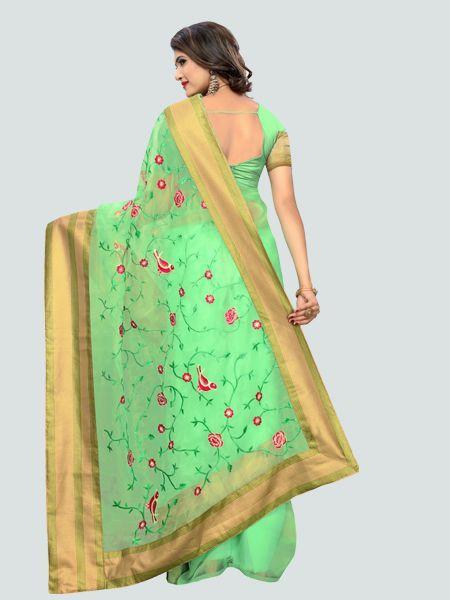 Buy Latest Poli Net C Green Embroidered Saree Online On YOYO Fashion.