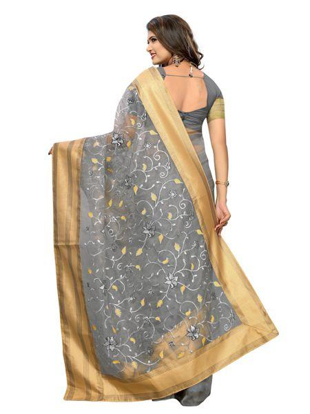 Buy Latest Poli Net Grey Embroidered Saree Online On YOYO Fashion.