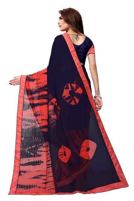 Pallu of Navy Blue Georgette Bandhani Saree - YOYO Fashion