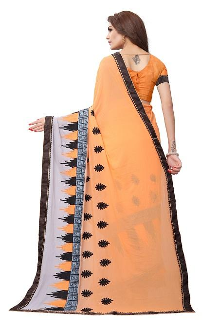 Pallu of Orange Georgette Embroidery Saree - YOYO Fashion