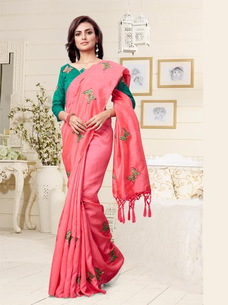 Buy Peach Embroidered Saree With Blouse Online - YOYO Fashion