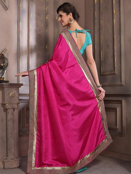 Back Pallu of Pink and Blue Embroidered Silk Saree - YOYO Fashion