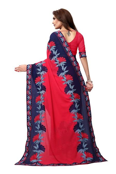 Pallu of Pink Georgette Saree with Thread embroidery - YOYO Fashion