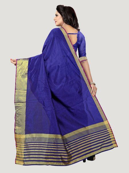 Buy Plain Blue Saree with Golden Border Online - YOYO Fashion