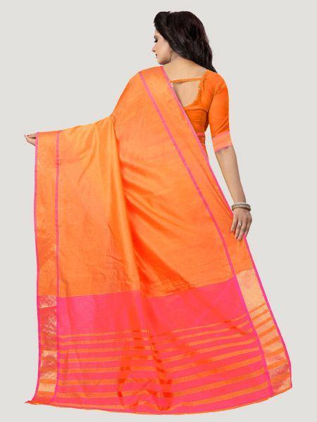 Buy Plain Orange Silk Saree with Pink Pallu Online - YOYO Fashion