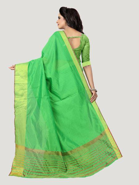 Buy Plain Parrot Green Saree with Golden Border Online - YOYO Fashion