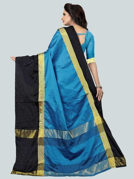Buy Plain Sky Blue Silk Saree with Black Broad Border Online - YOYO Fashion