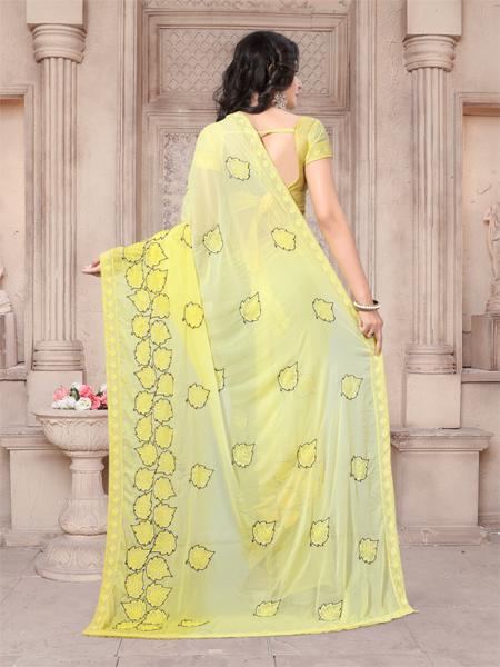 Back Pallu of Yellow Embroidered Georgette Saree - YOYO Fashion
