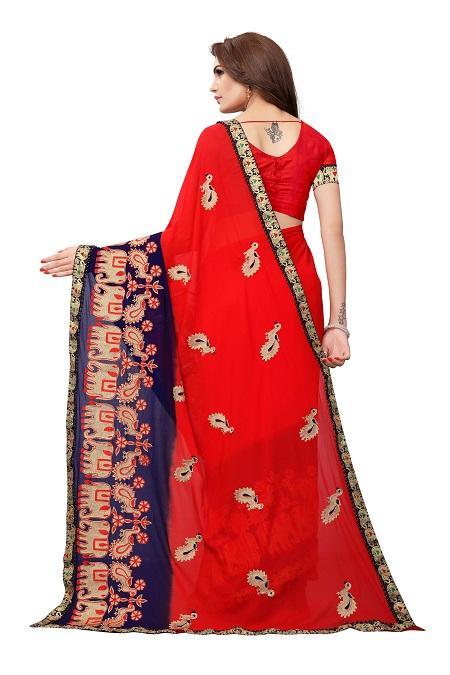 Pallu of Red Georgette Saree with Animal Embroidery  - YOYO Fashion