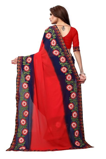 Pallu of Red Georgette Saree with Floral Embroidery - YOYO Fashion