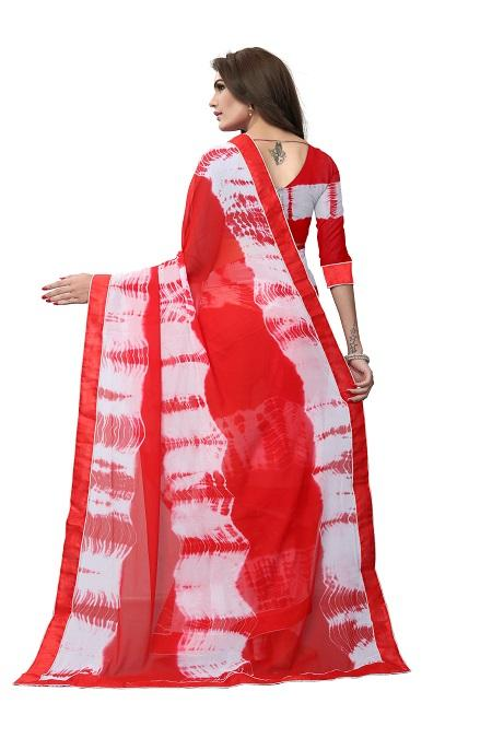 Pallu of Red Tie and Dye Georgette Saree - YOYO Fashion