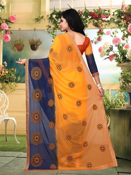 Back Pallu of Orange and Blue Georgette Saree - YOYO Fashion