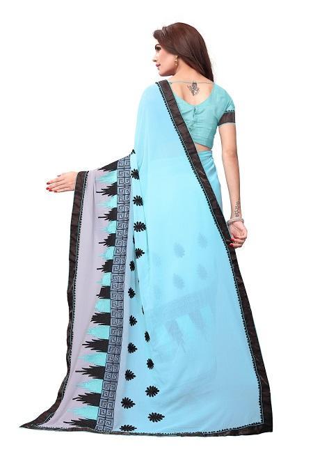 Pallu of Sky Blue Georgette Embroidery Saree - YOYO Fashion