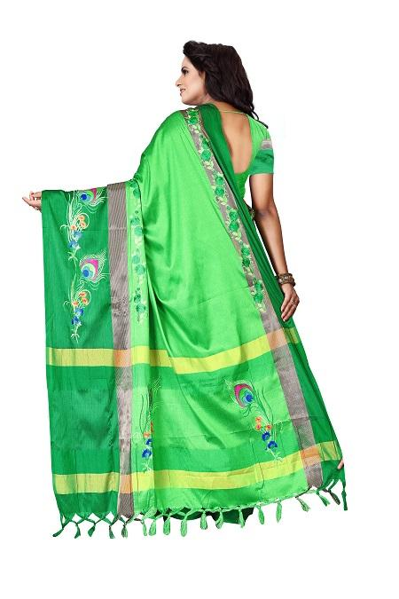 Pallu of Thread Work Beige Blue Polyester Saree - YOYO Fashion