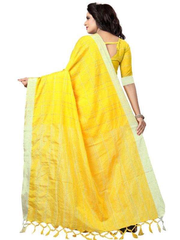Back Pallu of Yellow Checked Linen Saree - YOYO Fashion