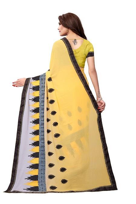 Pallu of Yellow Georgette Embroidery Saree - YOYO Fashion