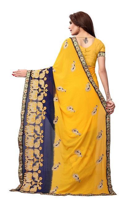 Pallu of Yellow Georgette Saree with Animal Embroidery  - YOYO Fashion